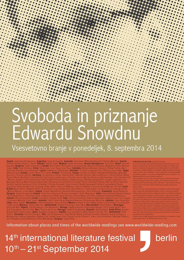 Svetovno protestno branje v podporo Edwardu Snowdnu